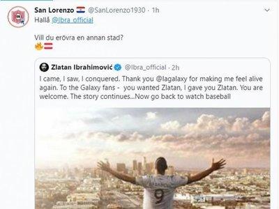 San Lorenzo le tira un centro a Zlatan