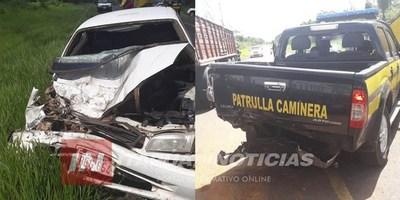 CNEL. BOGADO: ACCIDENTE INVOLUCRA A MÓVIL DE LA PATRULLA CAMINERA