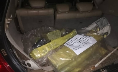 HOY / En control vehicular de Villeta hallan 34 kilos de marihuana