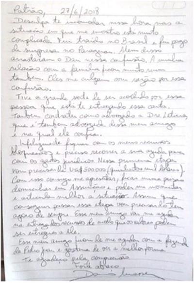 Lo que dice la carta dirigida al «Patrón»