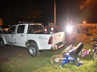 Patrullera chocó a motociclista