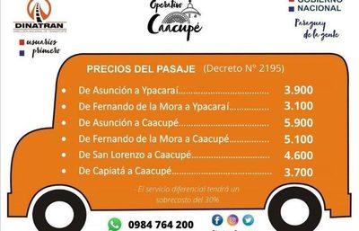 Dinatran da a conocer precios de pasajes vigentes para Operativo Caacupé