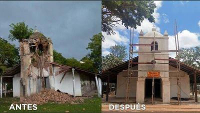 Estiman que restauración de la histórica iglesia de Yabebyry será inaugurada en enero