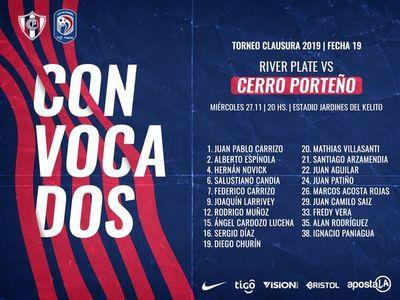 Convocados para jugar ante River Plate
