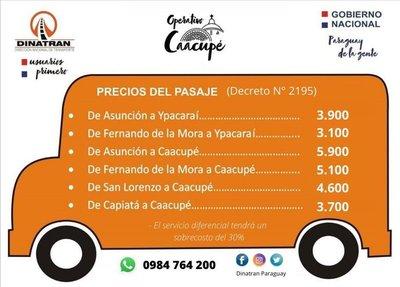 DINATRAN recordó que G. 5900 es el precio del pasaje Asunción