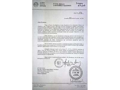 Ministro del Interior reclama una sanción por inconducta de Payo
