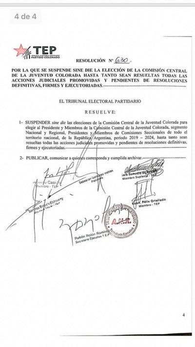 Se suspende sine die elecciones juveniles de a ANR
