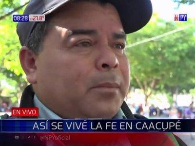 Campesino llega desde Choré para descargar sus dolencias en la Virgen Serrana