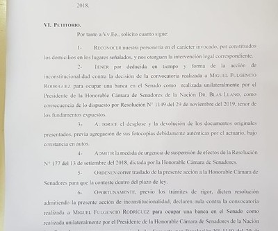 ANR recurre a la Corte para reclamar banca dejada por Payo