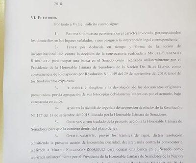 ANR quiere ocupar la banca de Paraguayo Cubas