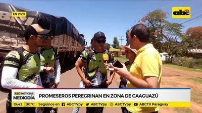 Promeseros peregrinan en zona de Caaguazú