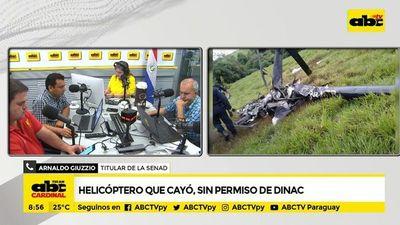Helicóptero que cayó, sin permiso de Dinac