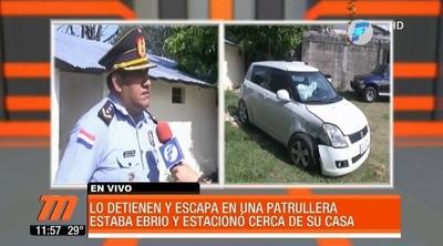 Ebrio escapa en patrullera luego de accidente