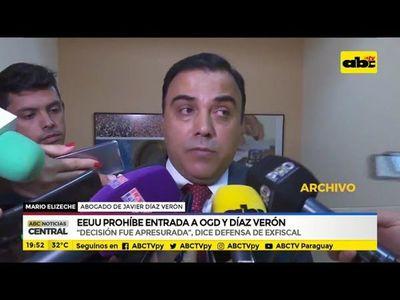 EE.UU. prohíbe entrada a AGD y Díaz Verón