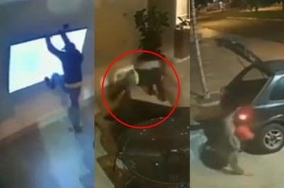 LOS LADRONES MÁS TORPES DE BRASIL INTENTAR ROBAR UN TELEVISOR, LO ROMPEN Y SE VAN SIN NADA