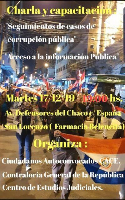 Charla en tema acceso a la información pública y seguimiento de casos de corrupción pública
