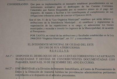 Desbloquean cuentas catastrales para facilitar pago de impuesto en CDE