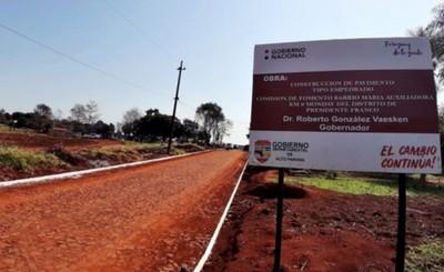 Gobernación de Alto Paraná invierte  G. 44. 979 millones en obras para