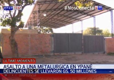 Desconocidos asaltan metalúrgica y se llevan G. 50 millones