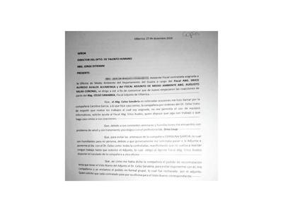 Denuncian por acoso a fiscal adjunto