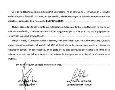 Senatur ejecutó contrato que DNCP recomendó suspender