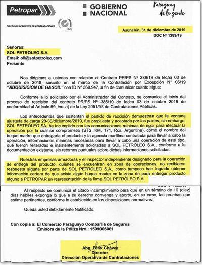 Viaje inútil de Petropar al Río de la Plata habría costado US$ 1.600.000