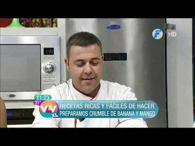 Malfatti de espinaca con ricota y crumble de banana y mango en la cocina de Vive la Vida XL