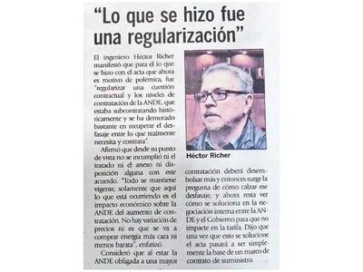 Itaipú: Reclaman que Richer aclare postura sobre el acta entreguista