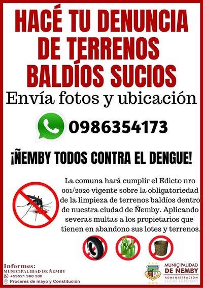 Municipalidad de Ñemby refuerza campaña de concienciación a eliminar criaderos