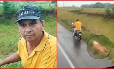 Motociclista ató a su perro y lo arrastró por varios kilómetros