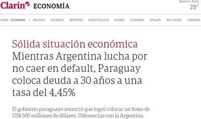 Para Clarín, la economía paraguaya causa envidia en Argentina
