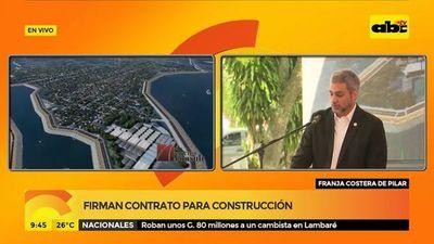 Marito firma contrato para defensa costera en Pilar