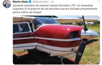Incautan aeronave y armas presuntamente vinculadas al narcotráfico