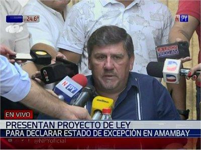 Llano presenta proyecto para declarar estado de excepción en Amambay