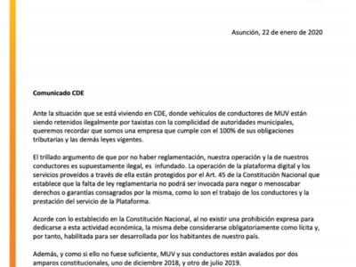 CDE: Denuncian persecución a conductores de Muv
