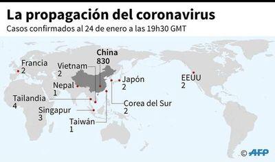 Países con casos confirmados del coronavirus