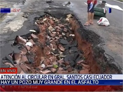 Pozo sobre General Santos ocasiona daños al abrirse con últimas lluvias