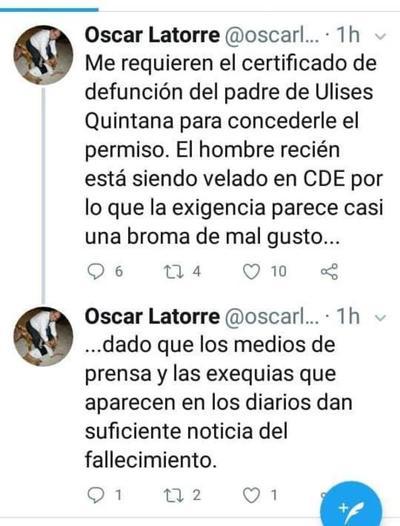 Justicia no permite que Ulises Quintana participe del sepelio de su padre