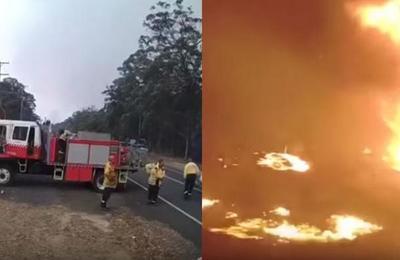 Australia: bomberos huyen de un incendio tras un repentino cambio en la dirección del viento