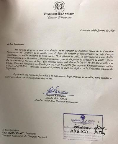 Apuril y Rasmussen solicitaron sesión extra del Senado para tratar Financiamiento Político