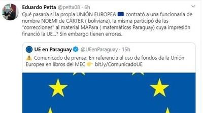"""Nancy Ovelar sobre tuit de Petta en contra de la UE: """"Es coherente con su comportamiento habitual"""""""