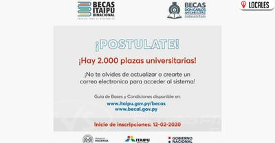 Inicia inscripciones online para acceder a becas de Itaipu