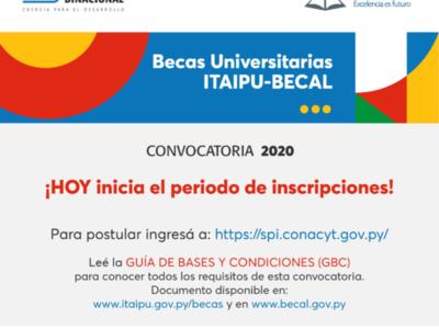 Lanzan oficialmente convocatoria para postular a Becas Universitarias Itaipú-Becal 2020