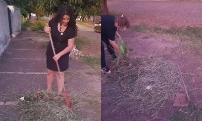 Ex Miss Gorditas limpiaron calles de Asunción
