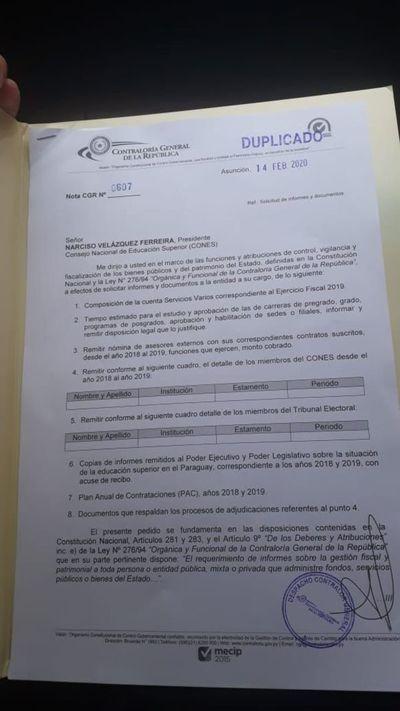 Contraloría vuelve a solicitar documentos al Cones