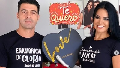 Gloria Vera y Julio César Cáceres celebran 17 años de amor