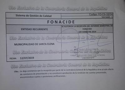 Municipalidad de Santa Elena realiza rendición de recursos FONACIDE 2019