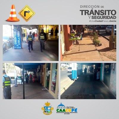 Dpto. de Tránsito continúa con el despeje de mercaderías y vehículos en veredas