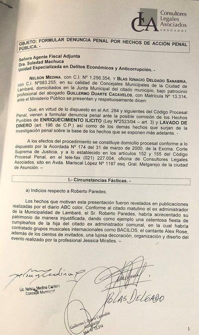 Lambaré: denuncian a intendente, exadministrador y tesorero por enriquecimiento ilícito y lavado de dinero