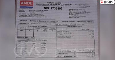 Usuario de la ANDE denuncia una sobrefacturación en Hohenau